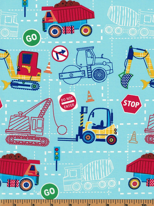 Construction, Dump Trucks, Dozer Fabric - 100% Cotton- Sold by the Half Yard
