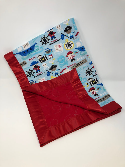 Personalized Pirate Minky and Red Flannel Blanket