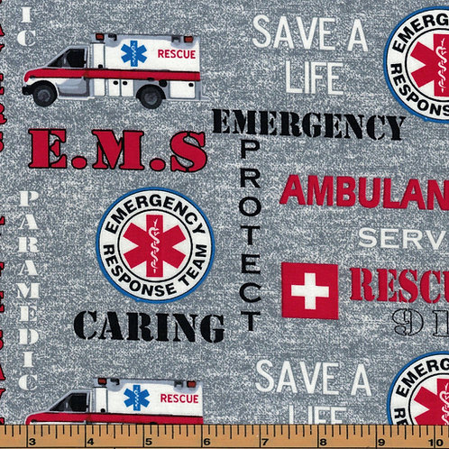 EMT Ambulance Fabric- First Responder - 100% Cotton Fabric|Sold by the half yard
