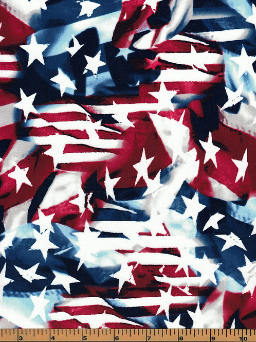 Patriotic Fabric Flag Mash Up - 100% Cotton - Sold by the half yard