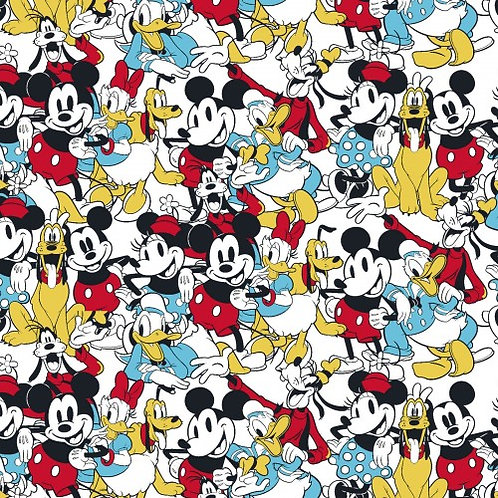 Mickey Mouse & Friends Fabric | 100% Cotton|Sold by the Half yard