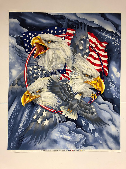 Patriotic Eagle Tribute Panel | Military Fabric | 100% Cotton Fabric
