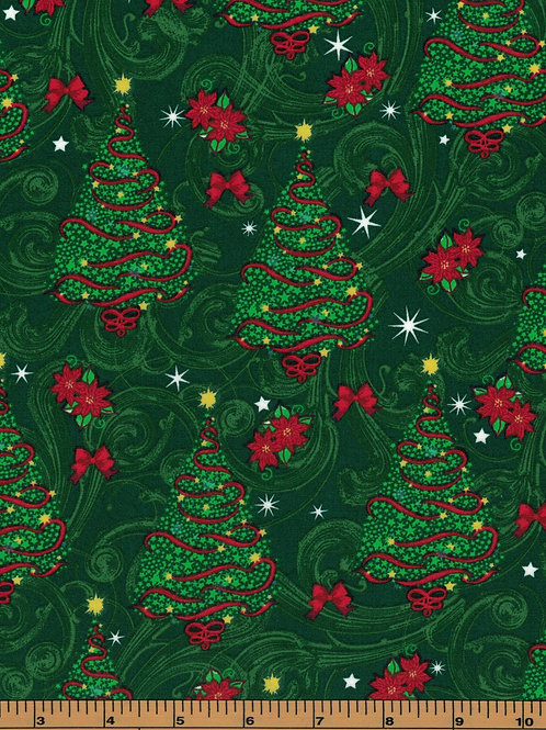 Christmas Tree Fabric - 100% Cotton- Sold by the Half Yard