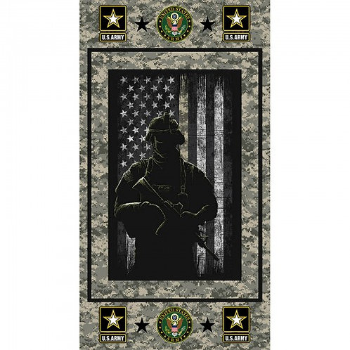 US Army Soldier Silhouette Military Fabric - 100% Cotton Fabric