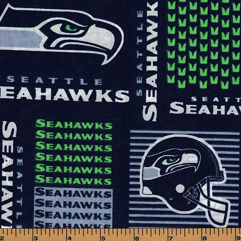 Seattle Seahawks Square NFL Football Fabric|100% Cotton|Sold by the half yard