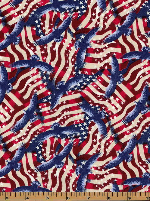 Patriotic Eagles & Flags - 100% Cotton - Sold by the half yard