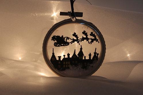 Santa's Sleigh Scene Snowglobe Ornament