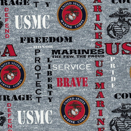 US Marines Logo Military Fabric - 100% Cotton Fabric - Sold by the half yard