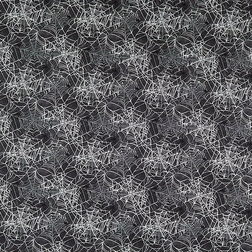 White Spiderwebs on gray -Halloween Fabric - 100% Cotton | Sold by the half yard