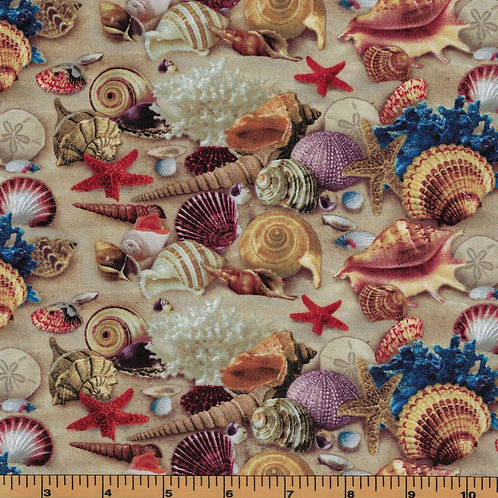 Sand & Seashell Beach Fabric - 100% Cotton- Sold by the Half Yard