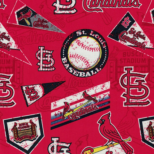 St. Louis Cardinals - Pennants - MLB Fabric |100% Cotton|Sold by the half yard