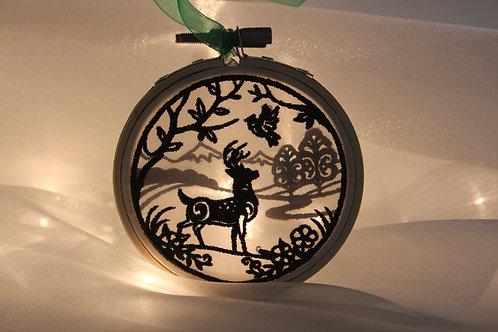 "3"" Deer Wildlife Scene Shadowbox Ornament"