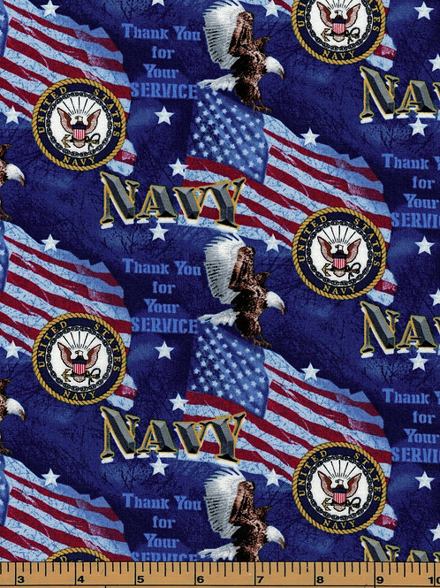 US Navy | Thank you for your service | 100% Cotton Fabric - By the 1/2 yard