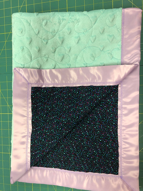 Personalized Dark Speckled Flannel and Aqua Minky  Blanket
