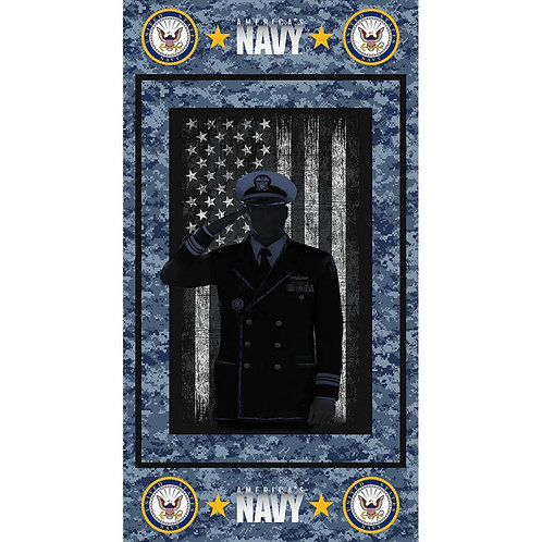 US Navy Soldier Silhouette Military Fabric - 100% Cotton Fabric