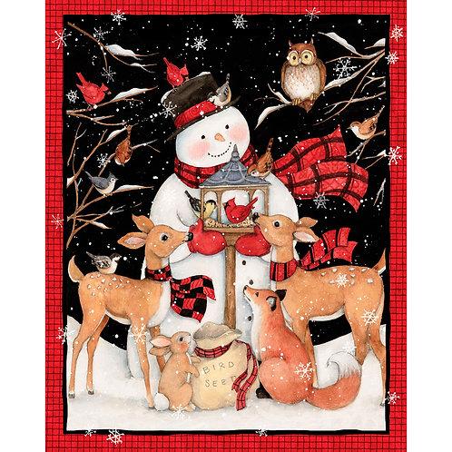 Snowman Christmas Panel - 100% Cotton fabric