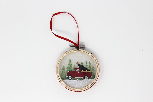 "3"" Red Truck Christmas Snowglobe Ornament"