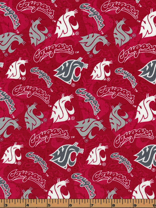 Washington State University Logo Toss |100% Cotton|Sold by the half yard