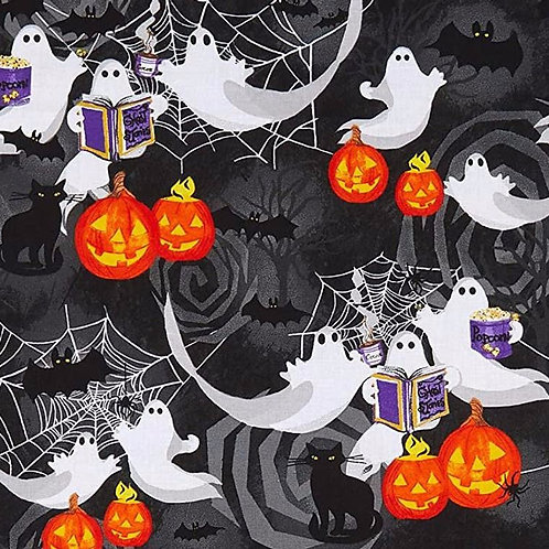 Ghosts and Pumpkins Halloween Fabric - 100% Cotton | Sold by the half yard