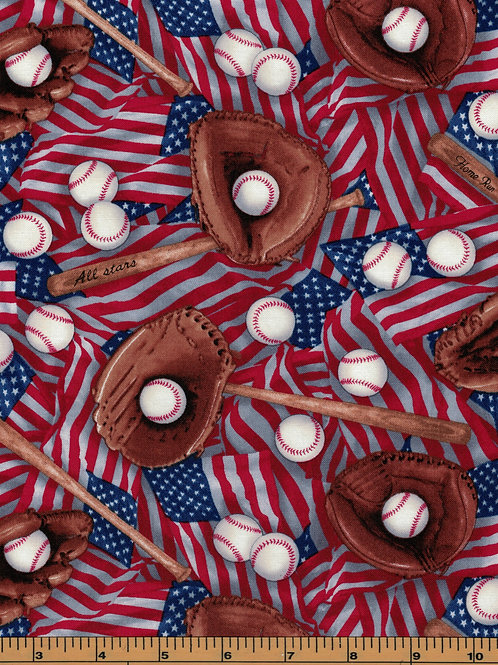 Americana Baseball Fabric - 100% Cotton- Sold by the Half Yard