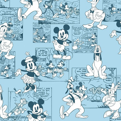 Mickey Mouse Blue Comic Strip Fabric   100% Cotton Sold by the Half yard