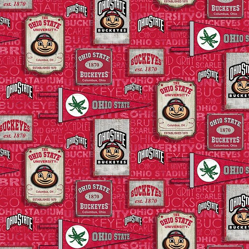 Ohio State University Buckeyes |100% Cotton | Sold by the half yard