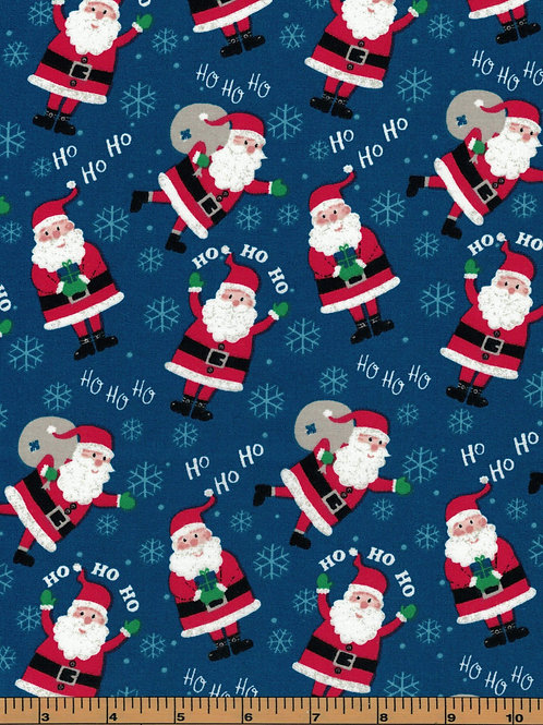 Santa on Blue Background Christmas Fabric - 100% Cotton- Sold by the Half Yard