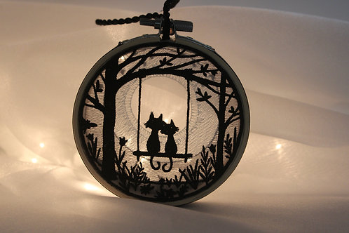 "4"" Cat Romance Shadowbox Ornament - Embroidered Sun Catcher"