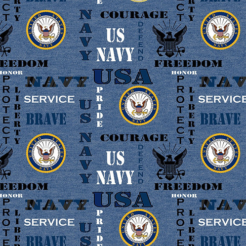 US Navy Logo Military Fabric - 100% Cotton Fabric - Sold by the half yard