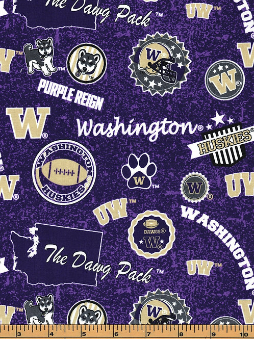 University of Washington State Logo Toss |100% Cotton|Sold by the half yard