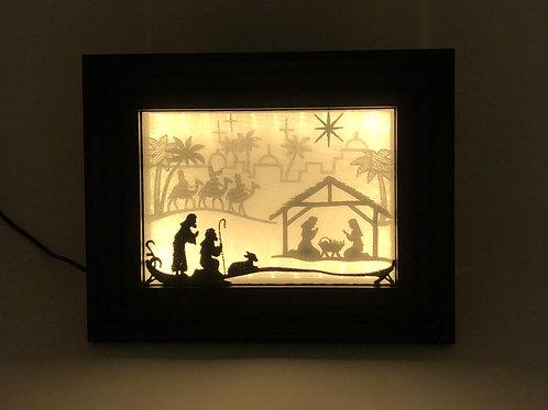 Nativity Set -Framed Indoor Tabletop Nativity Picture - Nativity Lightbo