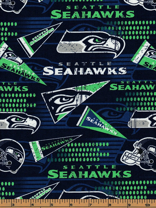 Seattle Seahawks Pennants NFL Football Fabric|100% Cotton|Sold by the half yard