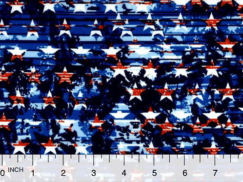 Patriotic American Flag Star Toss - 100% Cotton - Sold by the half yard
