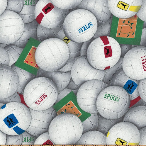 Volleyball Fabric - 100% Cotton- Sold by the Half Yard