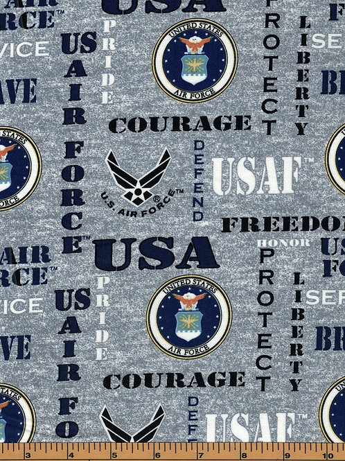 US Air Force Logo Military Fabric - 100% Cotton Fabric - Sold By the half yard