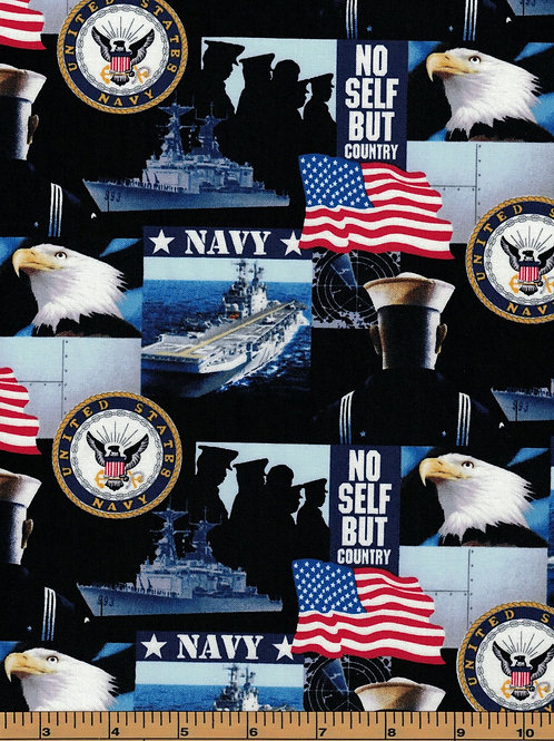 US Navy Picture Military Fabric - 100% Cotton Fabric - Sold By the half yard