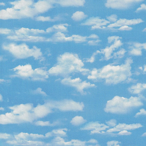 Blue Sky & Cloud Fabric - 100% Cotton- Sold by the Half Yard