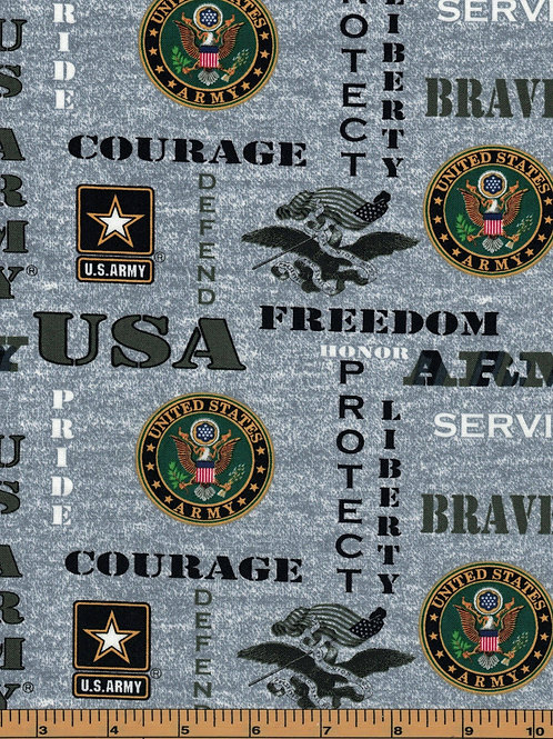 US Army Logo Military Fabric - 100% Cotton Fabric - Sold by the half yard