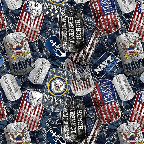 US Navy Dog Tags Fabric - 100% Cotton Fabric - Sold by the half yard