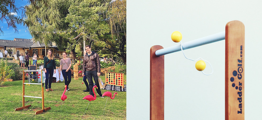 Ladder golf, perth party hire, office party, icebreakers, perth party games, perth giant games, lawn games