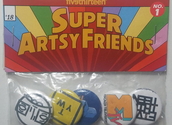 """superartsyfriends™"" 1' button pin pack"