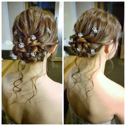 Romantic low updo with loose curls