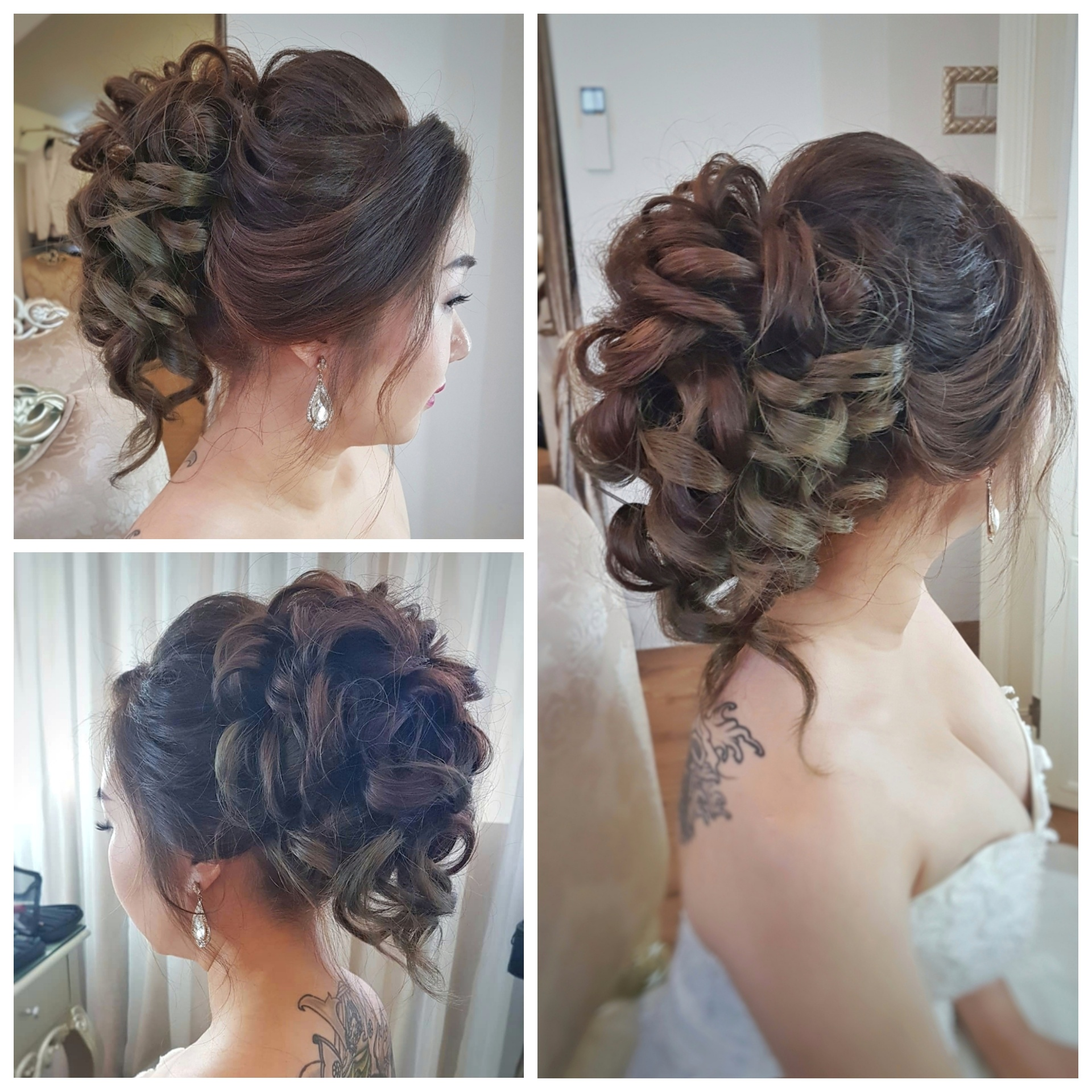 Voluminous updo with loose curls