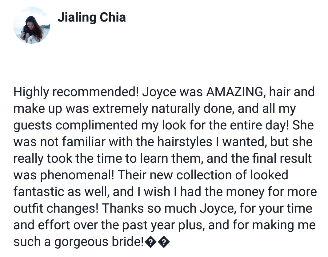 Review by Bride Jialing