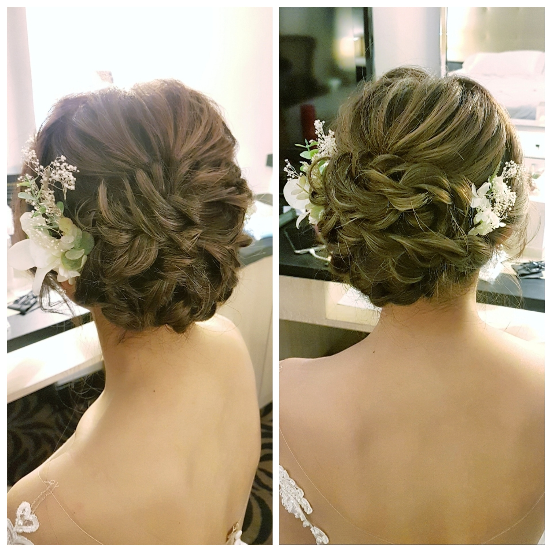 Neat braided up do with flowers