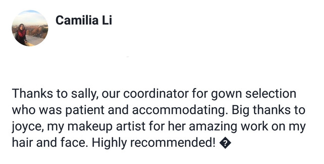 Review by Bride Camilia