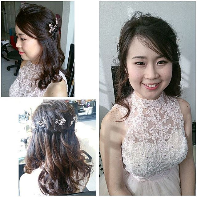 Waterfall braid and light natural Korean style makeup for pretty Geneva's ROM today _malena_bridal!