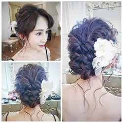 Natural makeup and twisted updo