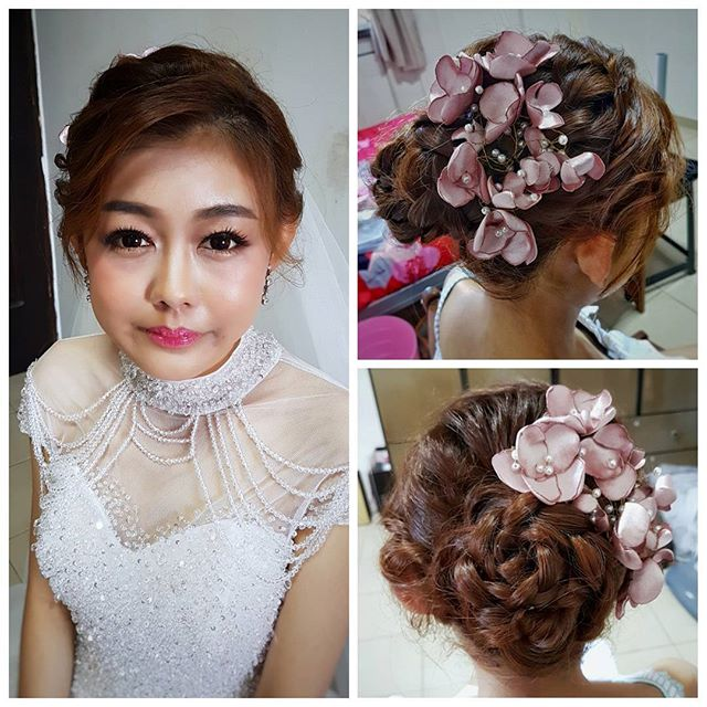 Congrats to pretty bride Shir Ny from _malena_bridal! Gave her a rose braided bun accentuated by sof