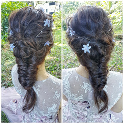 Fishtail braid with blue flowers